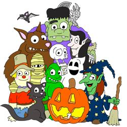 Halloween Cartoon Characters Group Drawing Lesson